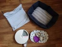 Cat stuff - bed, litter tray with lid, auto 5 day feeder, bowls, radiator bed