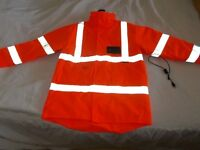 NEW--Fully quilted mid-thigh length orange hi-vis jacket size XL