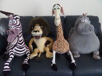 Large Madagascar Soft Toys - Alex the Lion, Marty the Zebra, Melman the Giraffe & Gloria the Hippo