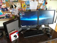 Complete desktop computer - dual monitor, Core 2 Duo CPU, DVD-RW, 8GB RAM
