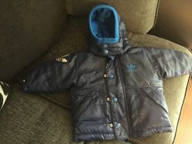 Baby Boys Blue Adidas Coat Size: Age 3-6months
