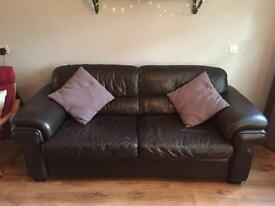Leather double sofa bed