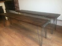 2 X HAIR PIN LEG BENCHES IN SOLID BEECH WOOD - INSIDE OR OUTSIDE USE