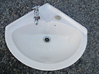 Corner ceramic Basin for hot and cold taps - good condition - small marks 15x15x20
