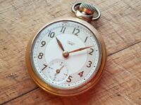 VINTAGE 1950S ALL ORIGINAL SMITHS EMPIRE GOLD TONE WIND UP MECHANICAL POCKET WATCH 50MM CASE GWC