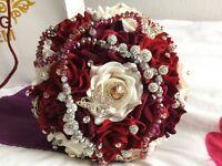 Red & White Swarovski Crystal bridal bouquet