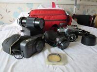 Canon AE1 35mm Camera with accessories