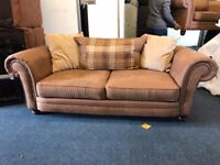 SCS ABBEY 3 AND 2 SEATER SOFA SET BROWN FAUX LEATHER SUEDE THREE PLUS TWO