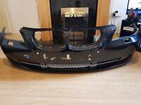 Black BMW E60 LCI front bumper PDC holes perfect condition
