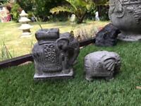 Elephant garden ornaments set