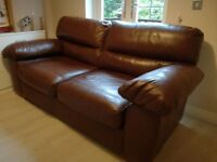 Good Quality Brown Leather M&S Sofa