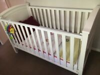 Cotbed with Mattress from John Lewis, white, excellent condition
