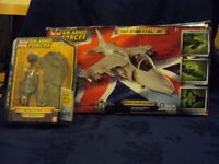 Armed forces fast jet, in original box, with fast jet army men outfit also in original box.