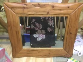 Country pine framed mirror