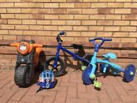 Children's bikes and helmet