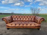 Beautiful Chesterfield Tetrad Oskar Grand Tan Leather Sofa