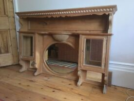 Antique stripped pine overmantle