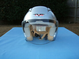 Vcan Aviator-style Scooter Helmet - Size XS in Silver - As New !