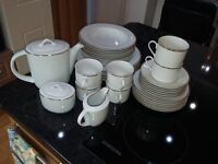 Galery 33 Piece Crockery set. White with gold rims. Unused.