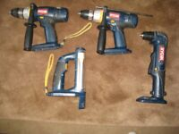 2 SETS of Ryobi Cordless Tools:- SET 1 is £10 for EACH TOOL; SET 2 is £10: Details in Description