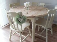 ** SOLID PINE DINING TABLE WITH 4 CHAIRS - BEAUTIFULLY RESTORED IN SHABBY CHIC COTTAGE STYLE **