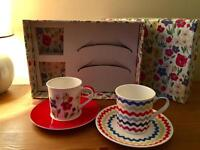 "Cath Kidston Set of 2 Espresso Cups ""Paradise Fields"" (like new)"