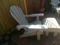 Solid Wood Garden Chairs and footstools