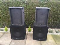 "PA Speakers + Stands 2 X 15"" Tops plus 2 X 18"" SoundLab subs. Incl all cables PA System Band DJ"