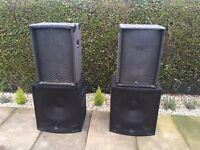 "PA Speakers + Stands 2 X 15"" with horn plus 2 X 18"" SoundLab subwoofers. Incl all cables."