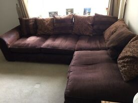Fabric/faux suede Corner Sofa - very good condition.