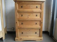 LARGE STRIPPED PINE FOUR DRAWER CHEST OF DRAWERS FREE DELIVERY