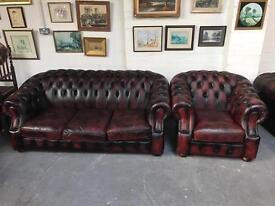 Fantastic vintage oxblood leather chesterfield 2 piece suite can deliver