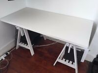 White Office Table - Ikea Finnvard Linnmon