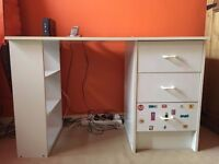 Wooden White Study Desk with 3 Drawers