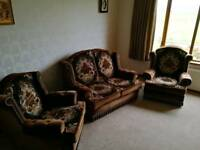 Brown patterned velvet 3 piece suite with 2 seater sofa