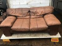 Rustic brown 2 seater leather sofa X 2