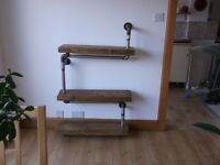 """steampunk shelf unit made from recycled wood and new 1"""" iron pipe and fittings"""