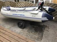 Rib Boat Dinghy (Tendor) with foldable trailer and modern outboard engine (4 stroke) 3.4M