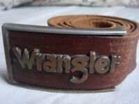 """STILL AVAILABLE Wrangler belt with buckle, vintage 1980's belt 100% Leather to fit 32-34"""" Waist"""