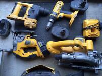 DeWalt sets of cordless tools.