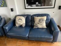Blue Italian leather sofa And footstool