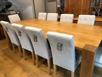 Elegant 10 seater Solid Oak Dining Room Table and Chairs