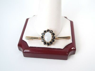 Antique Victorian English Opal Sapphire 9kt Yellow Gold  Pin - Gift Box