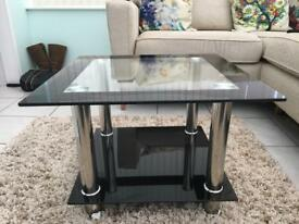 Black, glass and chrome side table