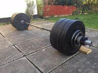 Rogue Fitness Olympic Barbell and Bumper Plates, Metal Plates, Micro Plates and Grip Collars 167kg