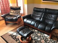 Black Leather Recliner 2 seater sofa, recliner chair and footstool