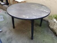 1 big wooden round table, 2 small tables and 1 garden chair