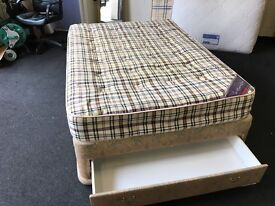 "4ft 6"" divan and mattress (FREE DELIVERY)"