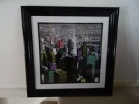 Pair of feature, framed, black & white New York pop art prints