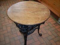 OLD CAST IRON PUB TABLE